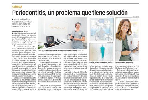Asensio Odontología Avanzada explica todo sobre la periodontitis en el periódico Levante